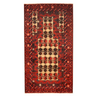 Herat Oriental Afghan Hand-knotted Tribal Balouchi Ivory/ Red Wool Rug (2'8 x 5')