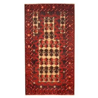 Herat Oriental Afghan Hand-knotted Tribal Balouchi Wool Rug (2'8 x 5')