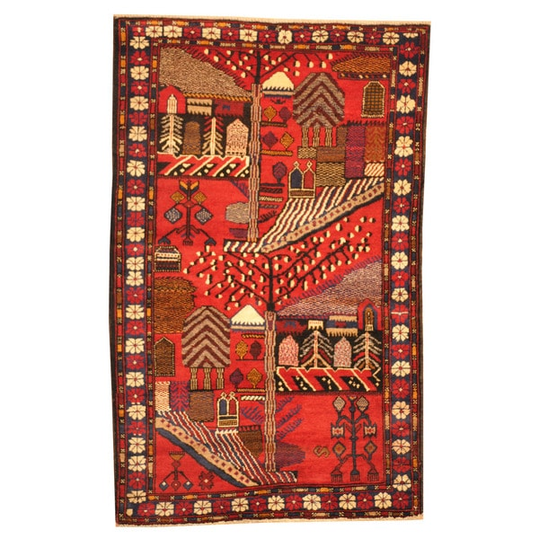 Handmade One-of-a-Kind Balouchi Wool Rug (Afghanistan) - 3' x 4'10. Opens flyout.