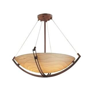 Justice Design Group Porcelina Crossbar 6-light Dark Bronze Round Pendant
