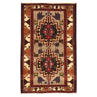 Herat Oriental Afghan Hand-knotted Tribal Balouchi Wool Rug (2'9 x 4'5) - 2'9 x 4'5
