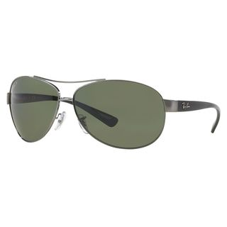 ray ban mens sunglasses aviator  ray ban men's rb3386 gunmetal/black frame green polarized lens sunglasses