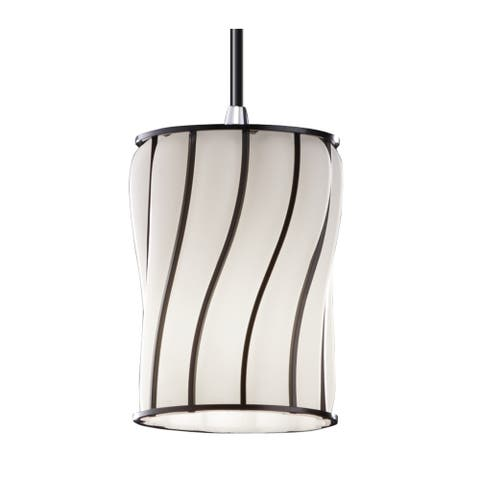 Justice Design Wire Glass 1-light Polished Chrome Pendant, Swirl with Opal Cylinder w/ Flat Rim Shade