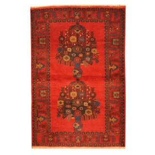 Herat Oriental Afghan Hand-knotted Tribal Balouchi Wool Rug (3' x 4'5)