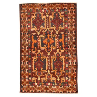 Herat Oriental Afghan Hand-knotted Tribal Balouchi Brown/ Red Wool Rug (3' x 4'5)