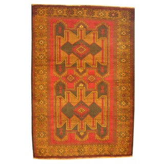Herat Oriental Afghan Hand-knotted Tribal Balouchi Red/ Green Wool Rug (3' x 4'5)