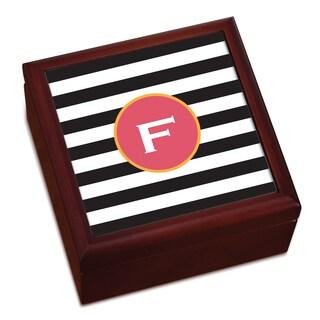 Black and White Stripes Personalized Keepsake Box