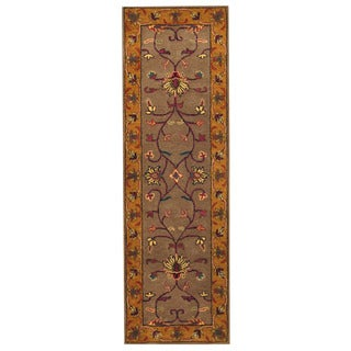 Herat Oriental Indo Hand-tufted Mahal Gray/ Gold Wool Rug (2'6 x 8')