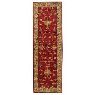 Herat Oriental Indo Hand-tufted Mahal Red/ Gray Wool Rug (2'6 x 8')