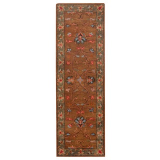 Herat Oriental Indo Hand-tufted Mahal Brown/ Gray Wool Rug (2'6 x 8')