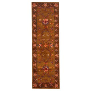 Herat Oriental Indo Hand-tufted Mahal Olive/ Brown Wool Rug (2'6 x 8'2)