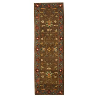 Herat Oriental Indo Hand-tufted Mahal Brown/ Gray Wool Rug (2'6 x 8'2)