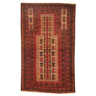 Herat Oriental Afghan Hand-knotted Tribal Balouchi Ivory/ Red Wool Rug (2'9 x 4'7)
