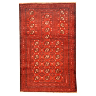 Herat Oriental Afghan Hand-knotted Tribal Balouchi Red/ Ivory Wool Rug (2'10 x 4'6)