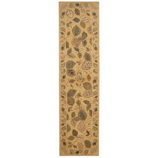 Herat Oriental Indo Hand-tufted Tabriz Beige/ Brown Wool Rug (2'6 x 10'2)