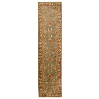 Herat Oriental Indo Hand-tufted Mahal Green/ Brown Wool Rug (2'6 x 10')