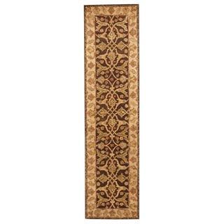 Herat Oriental Indo Hand-tufted Tabriz Brown/ Ivory Wool Rug (2'6 x 10')