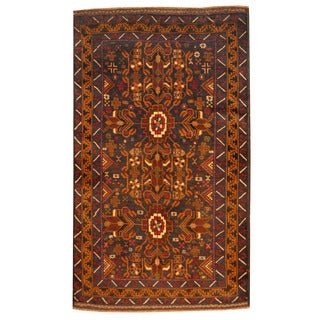 Herat Oriental Afghan Hand-knotted Tribal Balouchi Navy/ Brown Wool Rug (2'8 x 4'5)