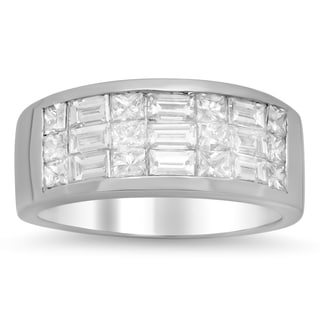 Artistry Collections 18k White Gold 1 3/4ct TDW Invisible-set Diamond 3-row Ring (E-F, VS1-VS2)