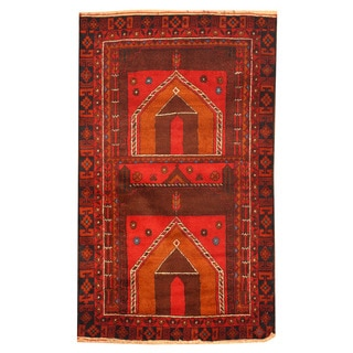 Herat Oriental Afghan Hand-knotted Tribal Balouchi Red/ Brown Wool Rug (3' x 5')
