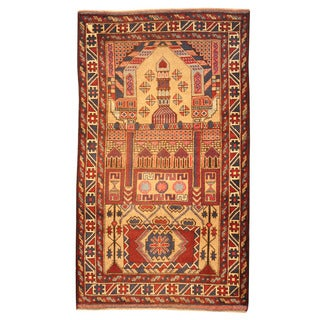 Herat Oriental Afghan Hand-knotted Tribal Balouchi Beige/ Red Wool Rug (2'10 x 5')