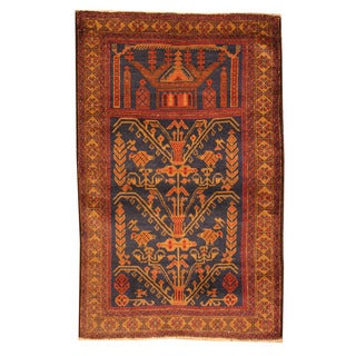 Herat Oriental Afghan Hand-knotted Tribal Balouchi Navy/ Red Wool Rug (2'10 x 4'7)