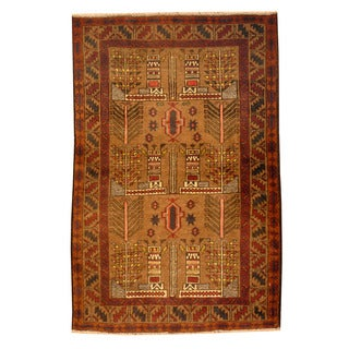 Herat Oriental Afghan Hand-knotted Tribal Balouchi Light Brown/ Red Wool Rug (2'7 x 4')
