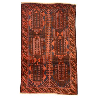 Herat Oriental Afghan Hand-knotted Tribal Balouchi Rust/ Navy Wool Rug (2'8 x 4'5)