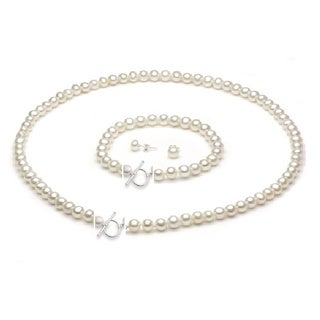 Pearlyta Sterling Silver 9 - 10mm Freshwater Pearl Toggle Clasp 3-piece Jewelry Set