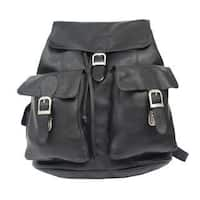 Piel Leather Large Buckle-flap Backpack