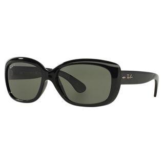 Ray-Ban Women's RB4101 Black Plastic Rectangle Polarized Sunglasses