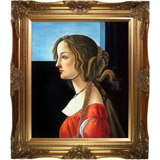 Sandro Botticelli 'Portrait of Simonetta Vespucci' Hand Painted Framed Canvas Art