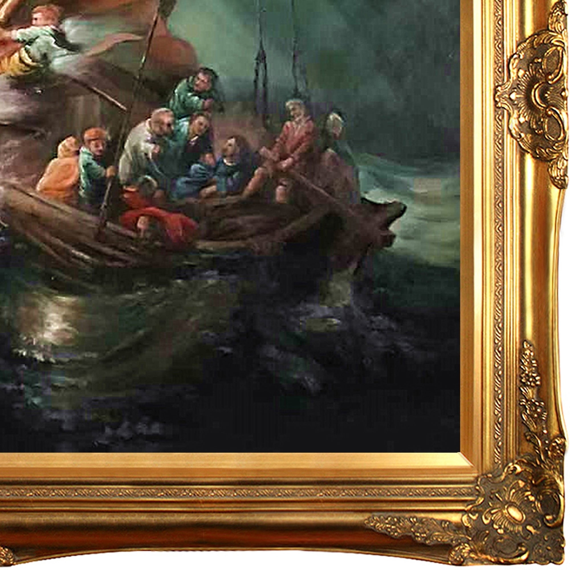 Rembrandt Van Rijn The Storm On The Sea Of Galilee Hand Painted Framed Canvas Art Overstock 10485651