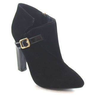 Machi Finn-4 Women's Comfy Stacked Chunky Heel Side Zipper Ankle Booties