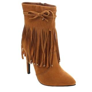 Machi Peri-1 Women's Fashion Stiletto High Heel Fringe Ankle Boots