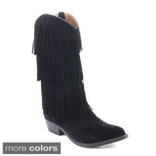 C Label Topaz-3 Women's Embroidered Cowgirl Fringe Under Knee High Boots