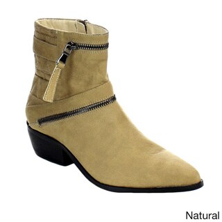 C Label Entice-2 Women's Quilted Zipper Slip On Chunky Heel Ankle Booties