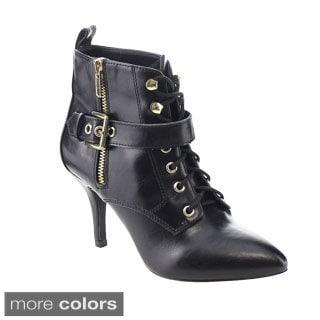 C Label Natalie-10 Women's Lace Up Zipper Buckle Belt Stiletto Ankle Booties