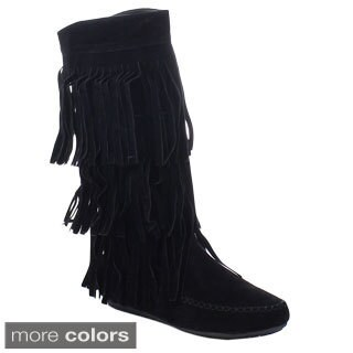 Liliana Copley-1 Women's 3-layers Fringe Flat Moccasin Style Mid-calf Boots