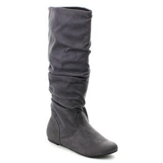 Soda Zuluu Women's Round Toe Cute Knee High Flat Boots