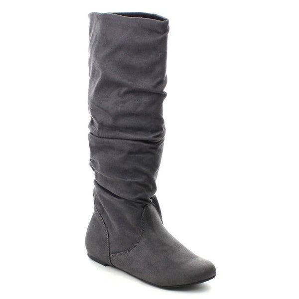 Soda Zuluu Women's Round Toe Cute Knee High Flat Boots. Opens flyout.