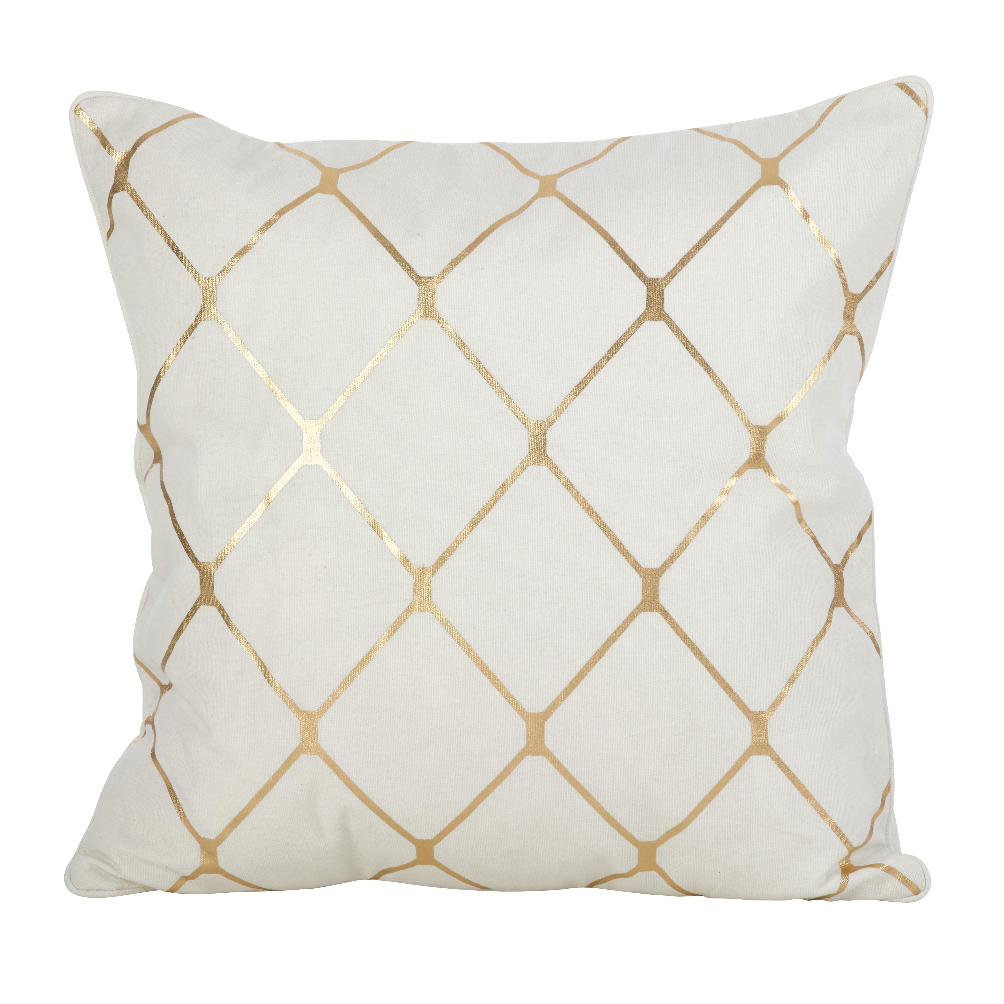 Saro Metallic Diamond Design Pillow-20inch (18 x 18 - Gol...