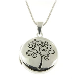 Handmade .925 Sterling Silver Round Tree of Life Locket (Thailand)