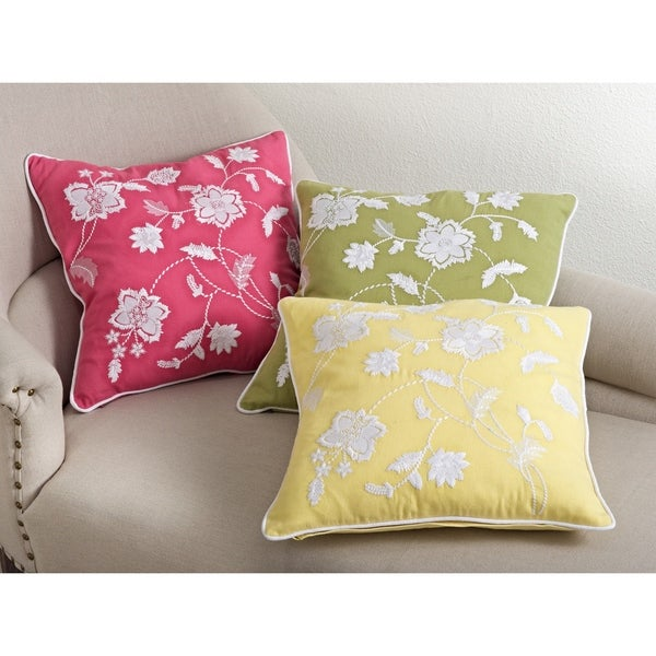 Embroidered Floral Design Down Filled Throw Pillow