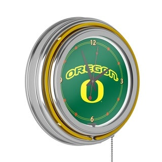 University of Oregon Chrome Double Rung Neon Clock