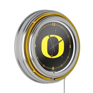 University of Oregon Chrome Double Rung Neon Clock - Carbon Fiber