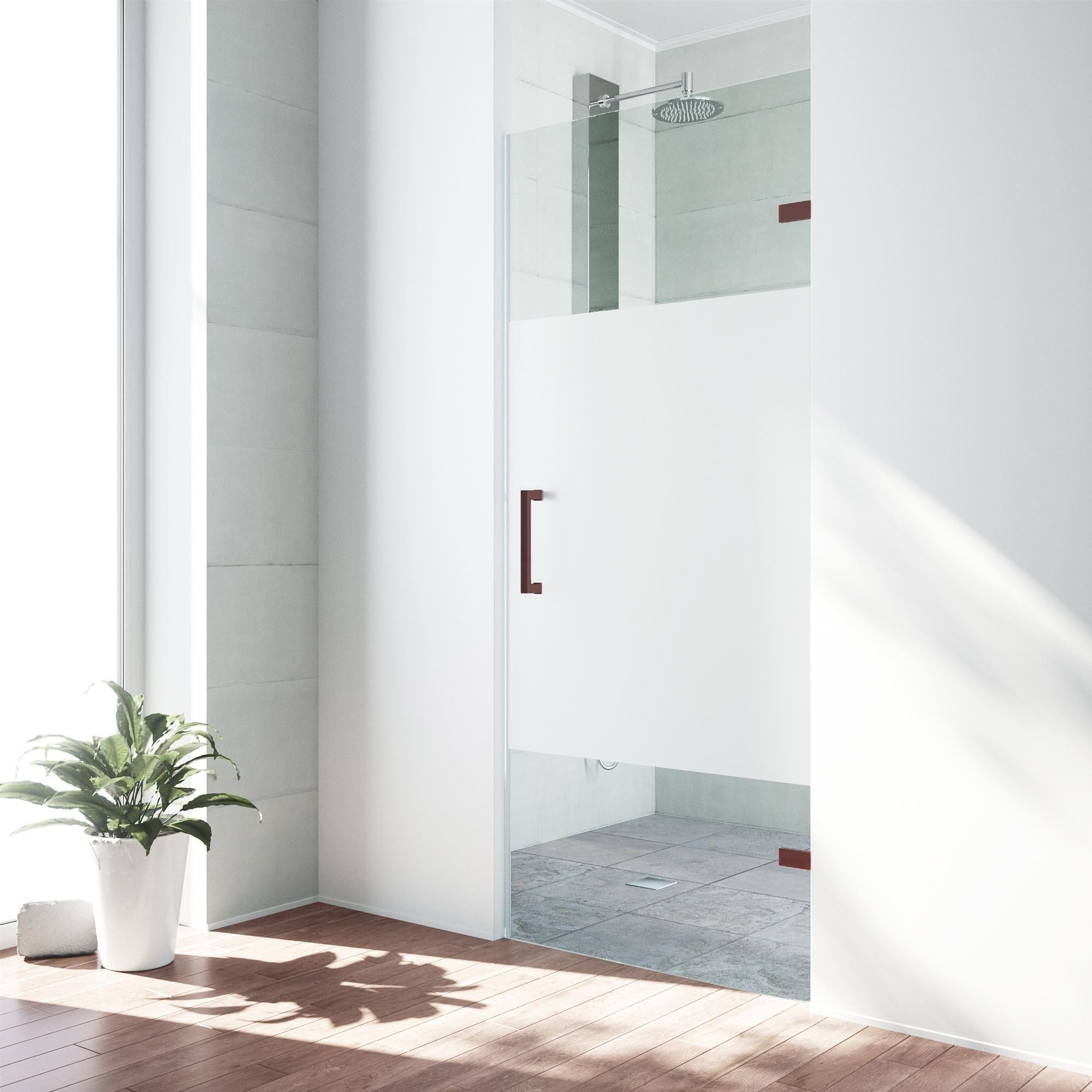Vigo Soho Clear And Frosted Adjustable Frameless Shower Door