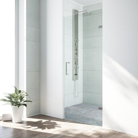 VIGO Soho 30-inch Adjustable Frameless Shower Door Clear/Stainless Steel