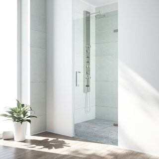VIGO SoHo 28-in. Adjustable Frameless Shower Door with Clear Glass and Stainless Steel Hardware