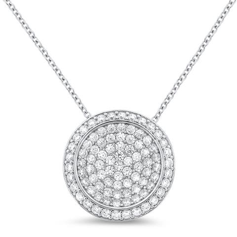 Meredith Leigh Sterling Silver Pave Cubic Zirconia Circle Pendant - White